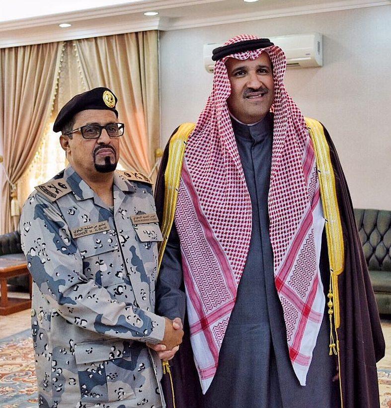 صاحب السمو الملكي الأمير فيصل بن سلمان يقلد اللواء بشير بن مفلح البلوي رتبته الجديدة